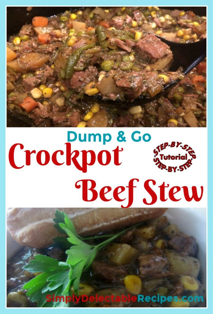 Want a delicious dinner that doesn't take any work? This super simple beef stew is made just dumping everything in the crock pot! Just layer in your meat and vegetables, add beef gravy and spices and come back hours later to a wonderful meal