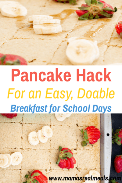 Want a shortcut to making pancakes? This easy oatmeal pancake recipe, is not only healthier, but easy to make! Check out the  sheetpan hack that will get you homemade fluffy pancakes on the table within 15 minutes. #pancakes  #sheetpanpancakes #easypancakes #healthybreakfast #homemadepancakes