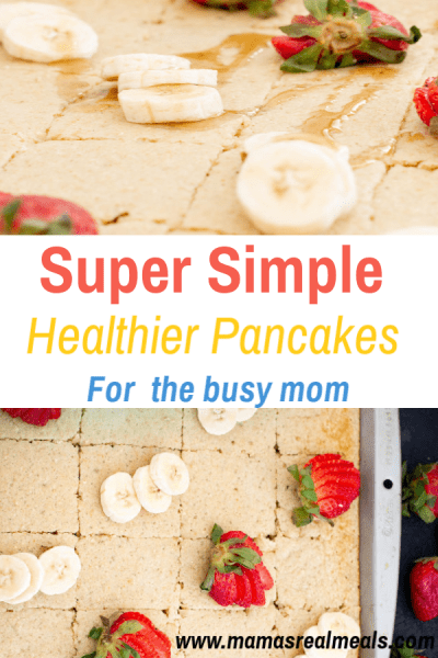 Want to start sending your kids to school with a healthier breakfast but don't have the time? These easy oatmeal fluffy pancakes are made on a sheetpan to help you get breakfast on the table in 15 minutes!  #sheetpanpancakes #easypancakes #healthybreakfast #homemadepancakes #pancakes