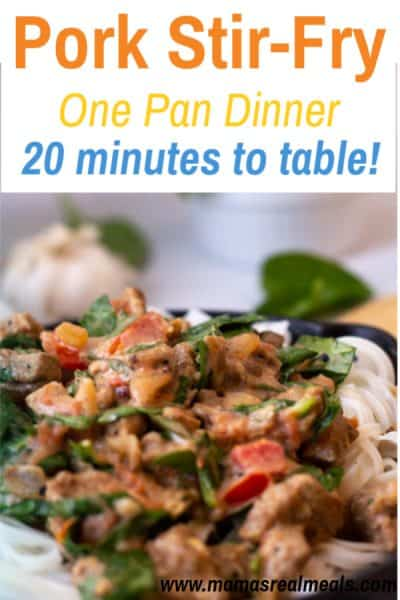 Super simple dinner for tonight with only one pan, and less than 10 ingredients! This pork stir fry is an easy dinner that even the kids love! #kidapproved #easyrecipe #easydinner #onepan #onepanmeal #castiron #porkrecipes #pork #lowcarbrecipes