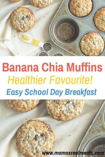 An easy one bowl banana chia muffins are kid approved made with bananas, chia and yogurt! With little dishes and made in less than 10 minutes!#muffins #chiaseeds #easybreakfast #makeaheadbreakfast #schoolbreakfast #bananamuffins