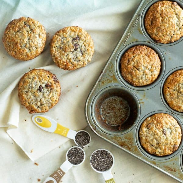 One Bowl Chia Banana Muffins