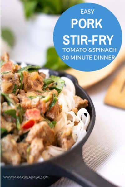 This spinach and tomato pork stir-fry is the perfect break from traditional stir-fry that will still be on the table in less than 30 minutes! It's delicious, easy, and kid approved so its the perfect easy dinner for tonight!