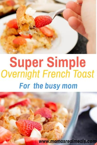 Want to start sending your kids to school with a healthy breakfast? Start by making this easy, overnight french toast casserole made with cream cheese and leftover croissants! (or use french bread) #frenchtoast #breakfast #makeaheadbreakfast #strawberries #schoolbreakfast