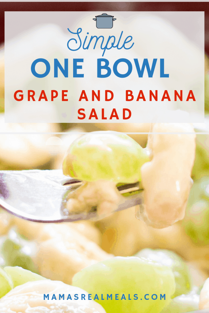 this super simple creamy grape salad made with bananas and walnuts, and then made in one bowl and only 10 minutes prep is the perfect kid friendly snack or  for a potluck! Its a no cook dessert for those hot summer days.