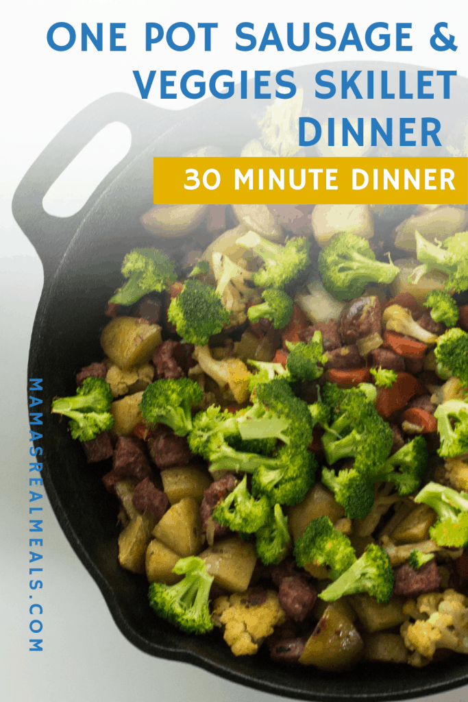 This one pan sausage and veggie skillet dinner is an easy weeknight dinner with only 10 minutes prep! Filled with potatoes, sausage, carrots, onions, peppers, cauliflower and broccoli, its actually a really easy 30 minute dinner that you can adjust to the vegetables you have on hand.