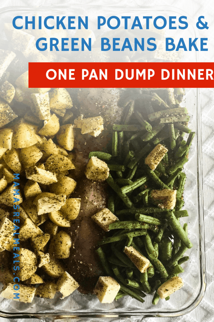 This one pan chicken, green beans and potato dinner might be the easiest dinner yet! Since it's a dump dinner, and only 5 ingredients, you can get a family friendly dinner on the table with only 10 minutes prep time!